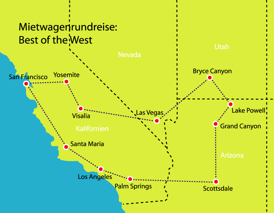 Reiseverlauf: Best of the West